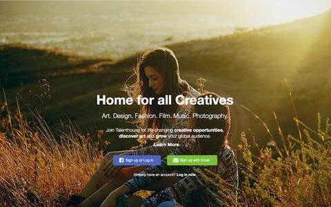 Screenshot of Home Page talenthouse.com - Talenthouse - captured Jan. 21, 2016