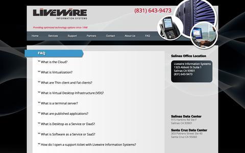 Screenshot of FAQ Page livewireis.com - FAQ   Livewire Information Systems - captured Nov. 11, 2018