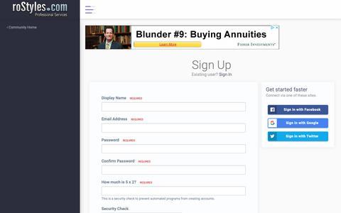 Screenshot of Signup Page rostyles.com - Registration - roStyles Design LLC - captured Oct. 18, 2018