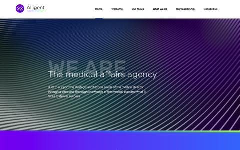Screenshot of Home Page alligentgroup.com - Alligent- The Medical Affairs Agency - captured July 29, 2018