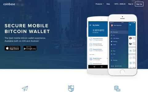 Screenshot of coinbase.com - Bitcoin Mobile Wallet for Android and iOS - Coinbase - captured March 19, 2016