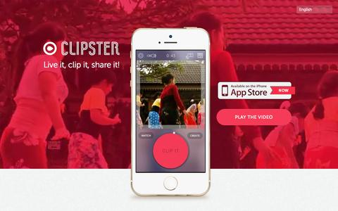 Screenshot of Home Page clipsterapp.com - Clipster - Live it, clip it, share it! - captured Sept. 30, 2014
