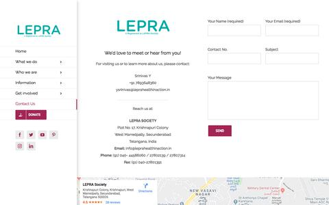 Screenshot of Contact Page leprasociety.org - Contact Us – LEPRA - captured Jan. 14, 2020