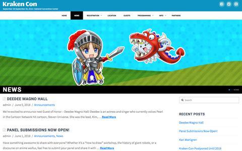 Screenshot of Press Page krakencon.com - News | Kraken Con - captured June 7, 2018