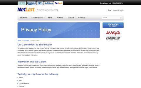 Screenshot of Privacy Page netlert.com - NetLert - Privacy Policy - captured Nov. 4, 2017