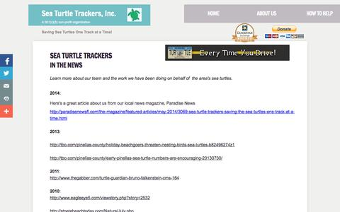 Screenshot of Press Page seaturtletrackers.org - Sea Turtle Trackers in the news - captured Oct. 27, 2014