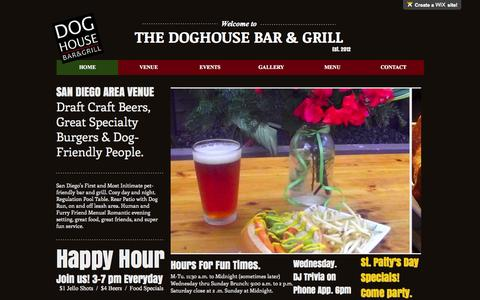 Screenshot of Home Page wix.com - Doghouse San Diego Pet Friendly Bar & Grill - captured Oct. 9, 2015