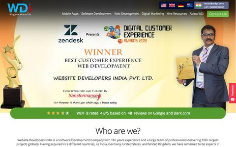 Screenshot of Home Page wdipl.com - Web Development Company in India | Website Developers India - captured May 18, 2019