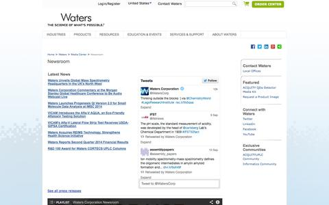 Screenshot of Press Page waters.com - Newsroom : Waters - captured Sept. 19, 2014