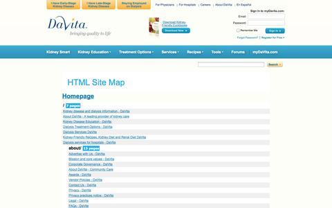 Screenshot of Site Map Page davita.com - SiteMap - DaVita - captured Sept. 25, 2014