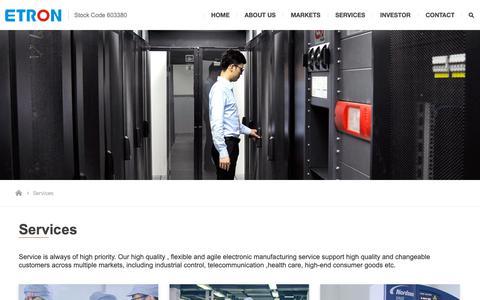 Screenshot of Services Page etron.cn - service_Suzhou Etron Technologies Co.,Ltd - captured Sept. 26, 2018