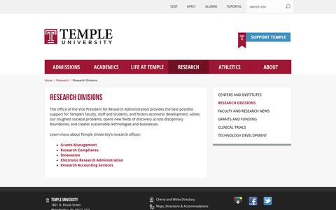 Research Divisions | Temple University