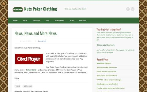 Screenshot of Press Page nutspokerclothing.com - News, News and More News - Nuts Poker Clothing - captured Aug. 14, 2016