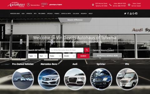 Screenshot of Home Page vindevers.com - Audi Mercedes and Used Car Dealer in Sylvania & Toledo - captured Feb. 14, 2016