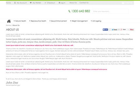Screenshot of About Page inaturalhealth.com.au - About  Us - captured Sept. 30, 2014