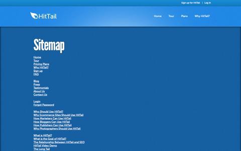 Screenshot of Site Map Page hittail.com - HitTail Keyword Tool Sitemap - captured Oct. 28, 2014