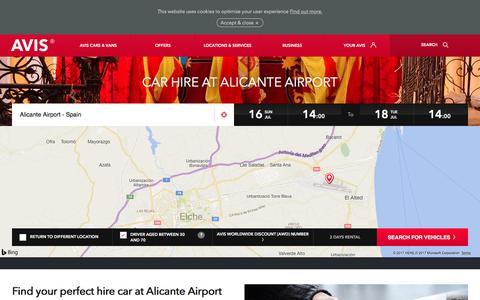 Screenshot of avis.co.uk - Car Hire Alicante Airport | Avis UK - Avis Office - captured July 16, 2017