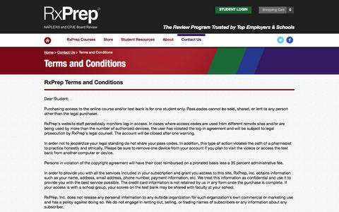 Screenshot of Terms Page rxprep.com - Terms and Conditions - captured Sept. 22, 2014