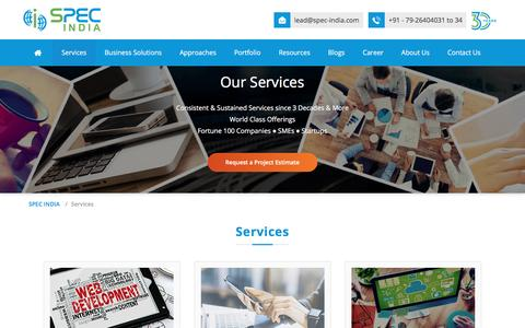 Screenshot of Services Page spec-india.com - Services - SPEC INDIA - captured May 11, 2017