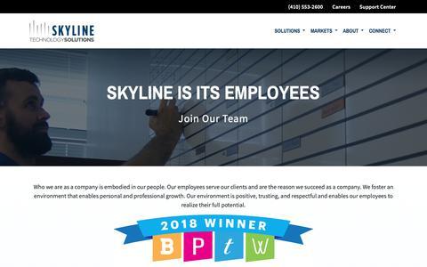 Screenshot of Jobs Page skylinenet.net - Careers | Skyline Technology Solutions - captured Nov. 19, 2018