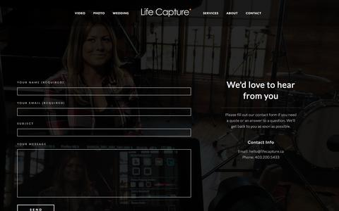 Screenshot of Contact Page lifecapture.ca - Contact – Life Capture - captured Aug. 6, 2017