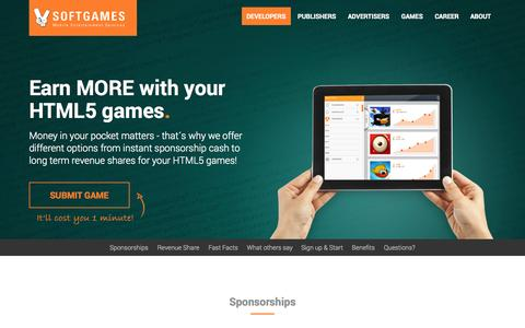 Screenshot of Signup Page Developers Page softgames.de - Developers / SOFTGAMES - Mobile Entertainment Services GmbH - captured Sept. 19, 2014