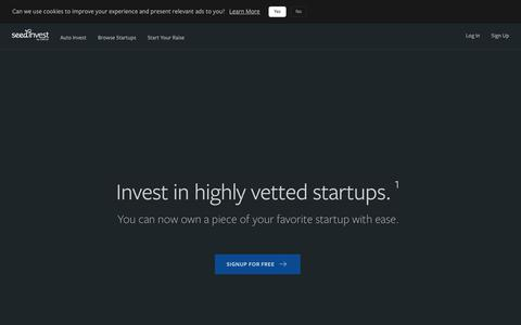 Screenshot of Home Page seedinvest.com - Startup Investing. Simplified. - SeedInvest - captured Oct. 3, 2019