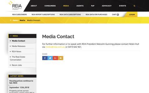 Screenshot of Press Page reia.asn.au - REIA - Media Contact - captured Oct. 21, 2018