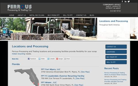 Screenshot of Locations Page fptscrap.com - Locations and processing at Ferrous Processing & Trading - captured Oct. 5, 2014