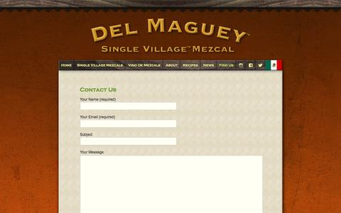 Screenshot of Contact Page delmaguey.com - Contact Us | Del Maguey - captured March 15, 2016