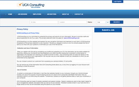 Screenshot of Privacy Page ucaconsulting.co.uk - Privacy Policy - UCA Consulting - captured Oct. 3, 2014