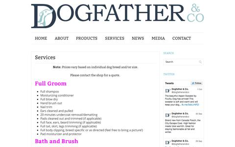 Screenshot of Services Page dogfatherandco.com - Dog Grooming Services | Dogfather & Co. - captured Oct. 5, 2014
