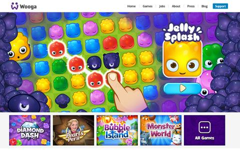 Screenshot of Home Page wooga.com - Wooga - captured July 11, 2014