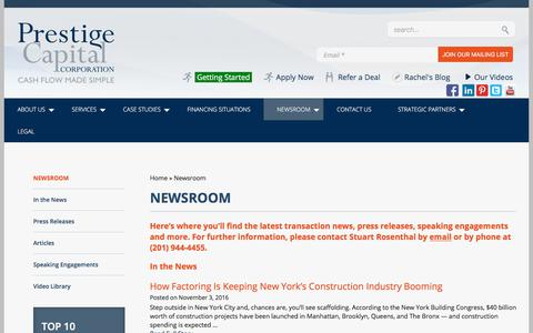 Screenshot of Press Page prestigecapital.com - Newsroom - - captured July 6, 2017
