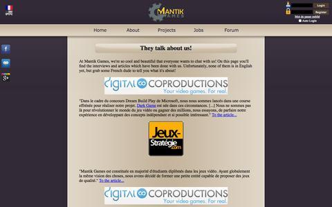 Screenshot of Press Page mantikgames.com - Mantik Games - Presssection - captured Sept. 30, 2014