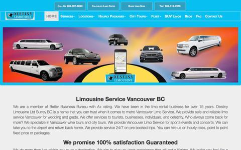 Screenshot of About Page destinylimousine.ca - Destiny Limousine Vancouver BC - captured Feb. 3, 2018