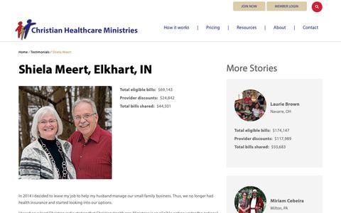Screenshot of Testimonials Page chministries.org - Elkhart, IN              | Christian Healthcare Ministries - captured May 16, 2019