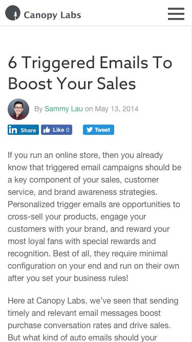6 Triggered Emails To Boost Your Sales - Canopy Labs