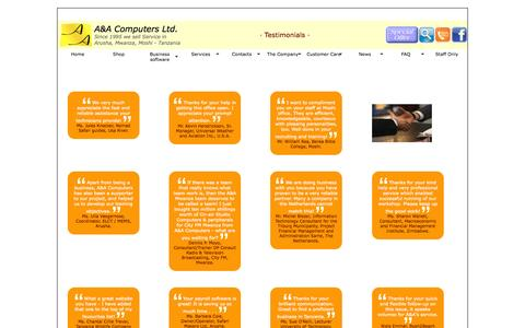 Screenshot of Testimonials Page aacomputers.co.tz - A&A Computers Ltd. | Customer Care | Testimonials - captured Oct. 3, 2014