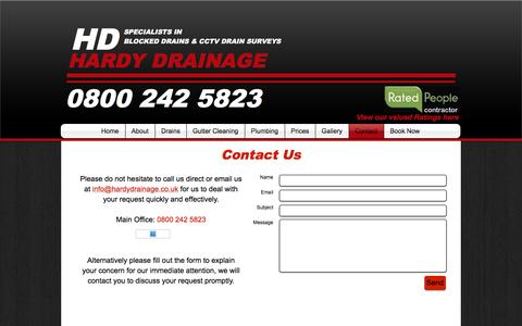 Screenshot of Contact Page hardydrainage.co.uk - contact - captured Oct. 25, 2016