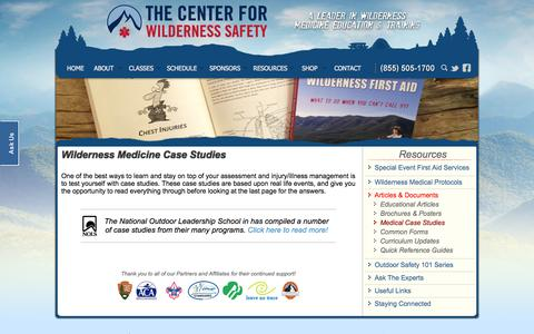 Screenshot of Case Studies Page wildsafe.com - Wilderness Medicine Case Studies - captured Oct. 2, 2014