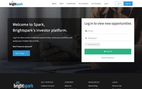 Screenshot of Login Page brightspark.com - Brightspark Ventures - captured Aug. 4, 2018