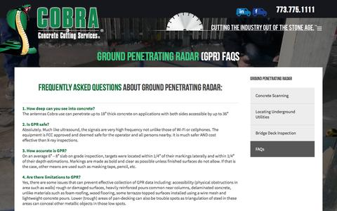 Screenshot of FAQ Page cobraconcrete.com - Concrete Cutting & Scanning FAQs - Cobra Concrete - captured Dec. 15, 2015