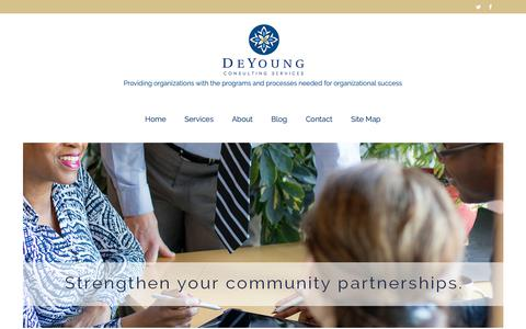 Screenshot of Home Page deyoungconsultingservices.com - Home - DeYoung Consulting Services, Minneapolis, Minnesota | Nationally Serving Nonprofits and Public Sector Clients - captured Oct. 8, 2018