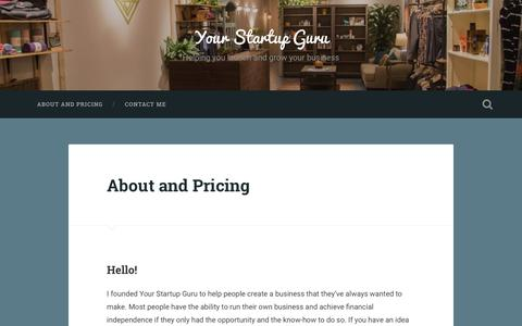 Screenshot of Pricing Page wordpress.com - About and Pricing – Your Startup Guru - captured Nov. 13, 2016