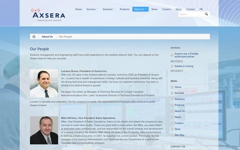 Screenshot of Team Page axsera.com - Our People - captured Oct. 1, 2014