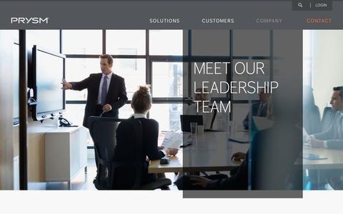 Screenshot of Team Page prysm.com - Meet Our Leadership Team | Prysm Visual Workplace - captured Nov. 15, 2016