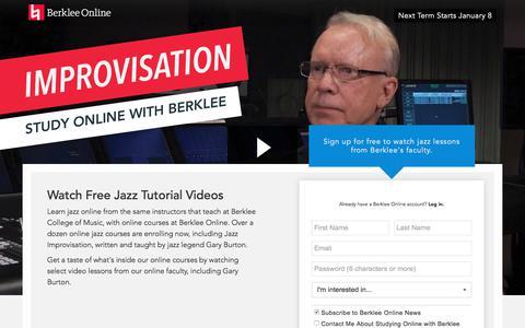Screenshot of Landing Page berklee.edu - Watch Gary Burton Jazz Videos from Berklee Online - captured Dec. 5, 2017