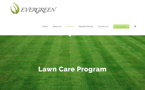 Screenshot of Services Page letsgoevergreen.com - Lawn Care Program – Evergreen - captured Nov. 26, 2018