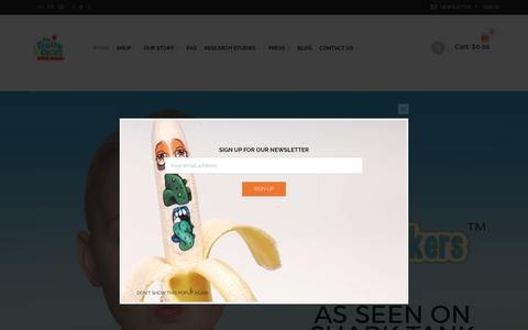 Screenshot of Home Page myfruityfaces.com - Buy Now Online Edible Stickers™ stickers for Fruit and Veggies - captured June 14, 2017